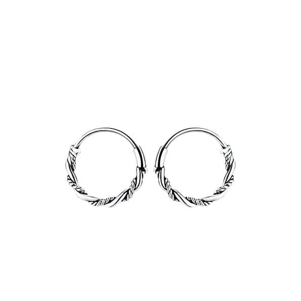 Wholesale 10mm Sterling Silver Bali Ear Hoops - JD8232