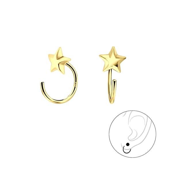 Wholesale Sterling Silver Star Ear Huggers - JD7864
