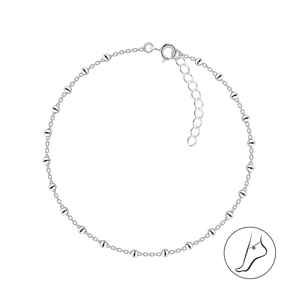 Wholesale 26cm Sterling Silver Satellite Anklet With Extension - JD4627