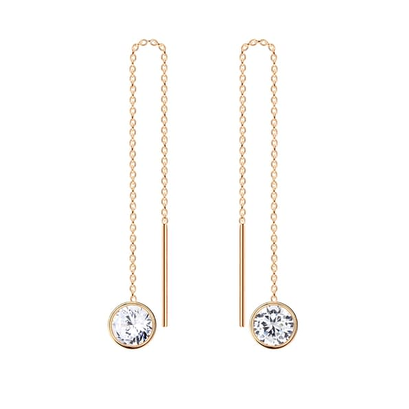 Wholesale 6mm Round Cubic Zirconia Sterling Silver Thread Through Earrings - JD6502
