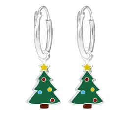 Wholesale Sterling Silver Christmas Tree Charm Ear Hoops - JD1759