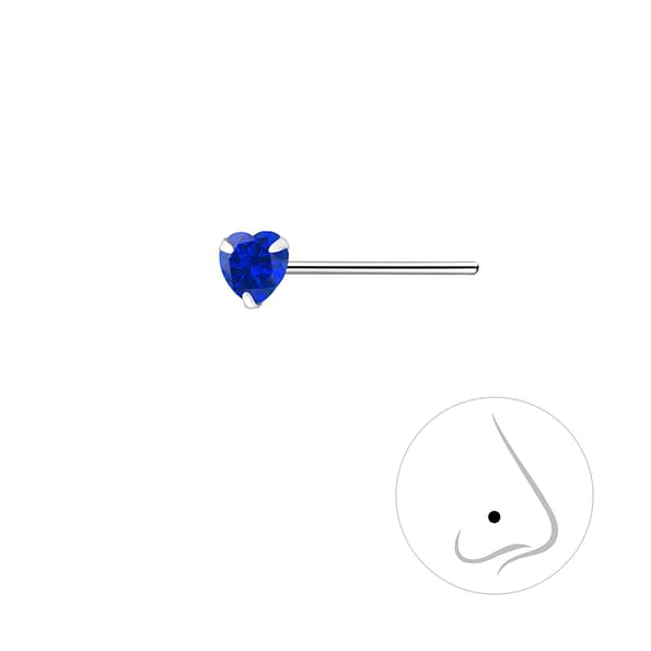 Wholesale 3mm Heart Cubic Zirconia Sterling Silver Nose Stud - JD8841
