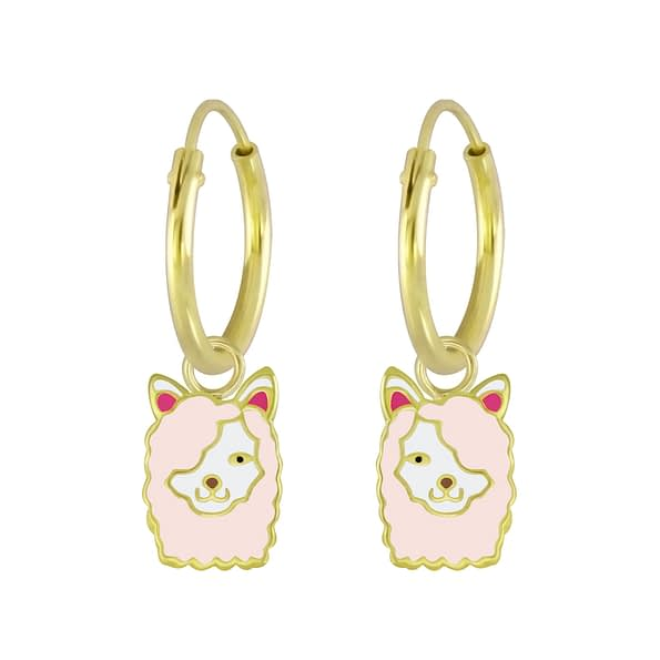 Wholesale Sterling Silver Llama Charm Ear Hoops - JD5997