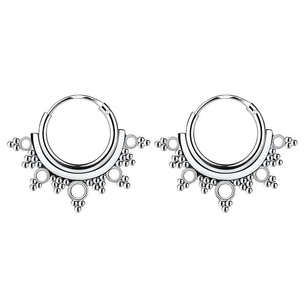 Wholesale 10mm Sterling Silver Bali Ear Hoops - JD5265