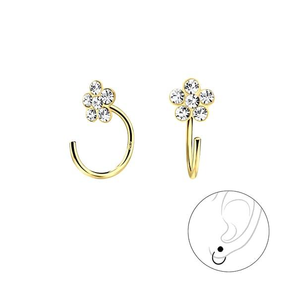 Wholesale Sterling Silver Flower Crystal Ear Huggers - JD7893