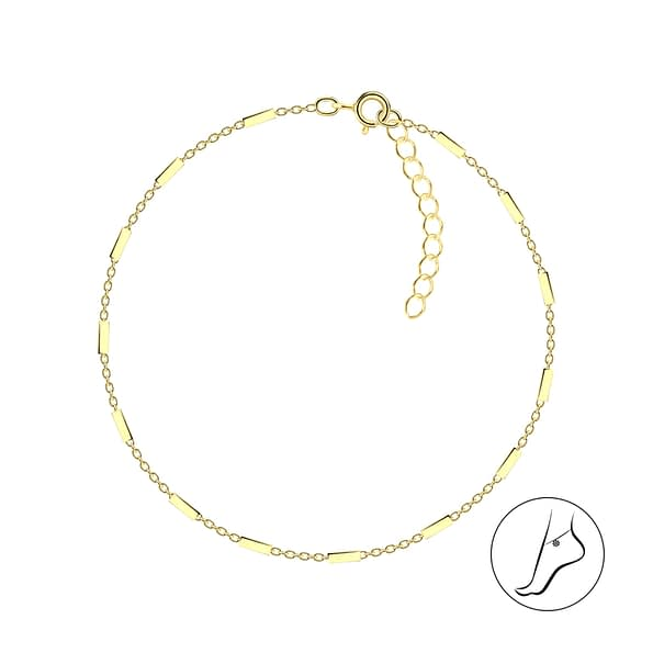 Wholesale 25cm Sterling Silver Cable Bar Anklet With Extension - JD8756