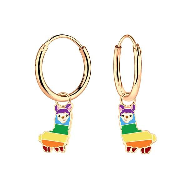 Wholesale Sterling Silver Alpaca Charm Ear Hoops - JD4634