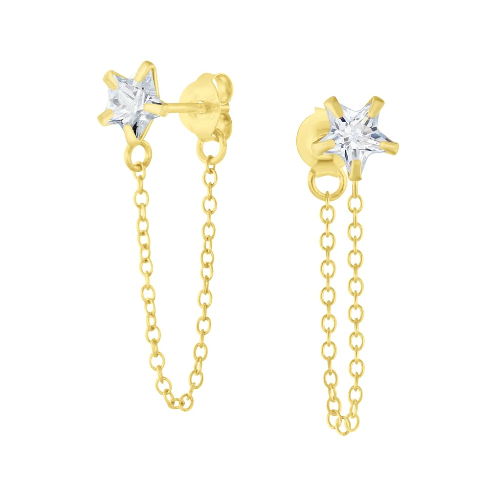 Wholesale 6mm Star Cubic Zirconia Sliver Ear Studs with Chain - JD6656