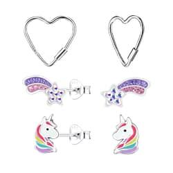 Wholesale Sterling Silver Unicorn Ear Studs Set - JD10021