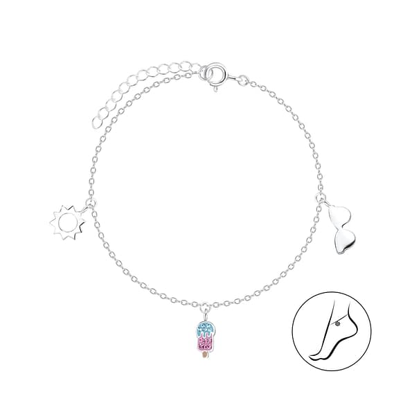 Wholesale Sterling Silver Holiday Anklet - JD8117