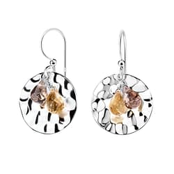 Wholesale Sterling Silver Patterned Earrings with Crystals - JD7106