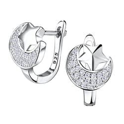 Wholesale Sterling Silver Moon and Star Huggie Earrings - JD4849