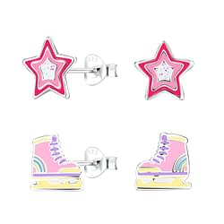Wholesale Sterling Silver Colorful Ear Studs Set - JD9971