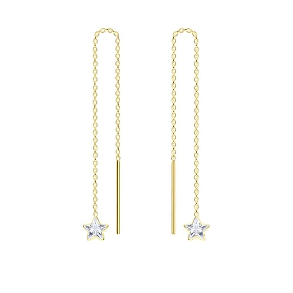 Wholesale 4mm Star Cubic Zirconia Sterling Silver Thread Through Earrings - JD6493