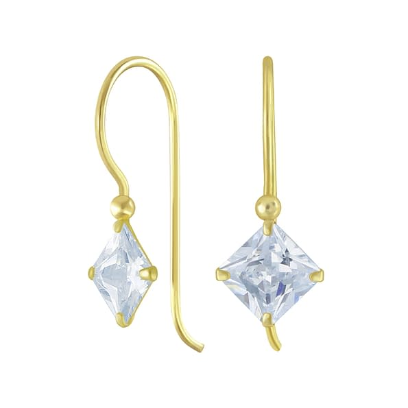 Wholesale 6mm Square Cubic Zirconia Sterling Silver Earrings - JD6507