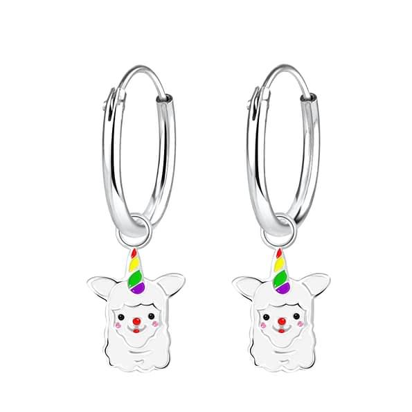 Wholesale Sterling Silver Alpaca Charm Ear Hoops - JD3861