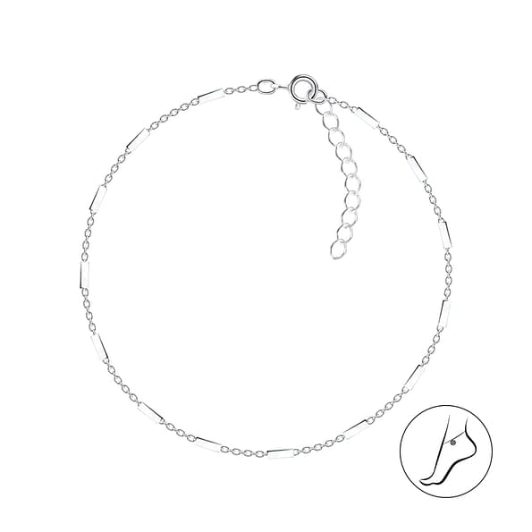Wholesale 25cm Sterling Silver Cable Bar Anklet With Extension - JD8755