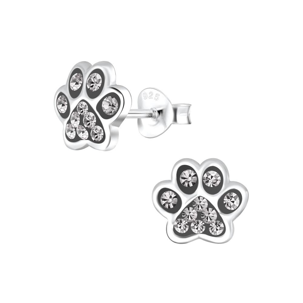 Wholesale Sterling Silver Paw Print Ear Studs - JD4083