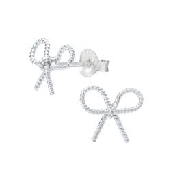 Wholesale Sterling Silver Bow Tie Ear Studs - JD1024