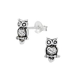 Wholesale Sterling Silver Owl Ear Studs - JD1065