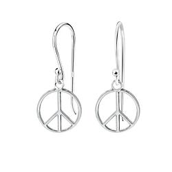 Wholesale Sterling Silver Peace Sign Earrings - JD1388