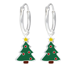 Wholesale Sterling Silver Christmas Tree Charm Ear Hoops - JD1760