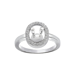 Wholesale Sterling Silver Rabbit Cubic Zirconia Ring - JD1699