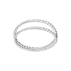 Wholesale Sterling Silver Twisted Double Line Ring - JD1673