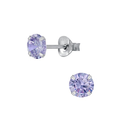 Wholesale 5mm Round Cubic Zirconia Sterling Silver Ear Studs - JD1974