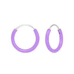 Wholesale Sterling Silver Light Purple Ear Hoops - JD1873