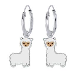 Wholesale Sterling Silver Alpaca Charm Ear Hoops - JD1940