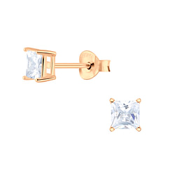 Wholesale 4mm Square Cubic Zirconia Sterling Silver Ear Studs - JD4762