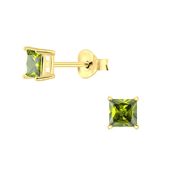 Wholesale 4mm Square Cubic Zirconia Sterling Silver Ear Studs - JD3712
