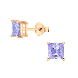 Wholesale 5mm Square Cubic Zirconia Sterling Silver Ear Studs - JD4732