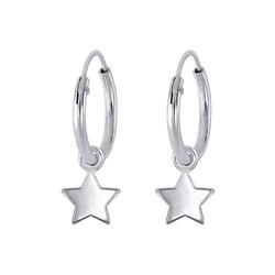 Wholesale Sterling Silver Star Charm Ear Hoops - JD2237