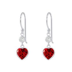 Wholesale Sterling Silver Heart Cubic Zirconia Dangle Earrings - JD2628