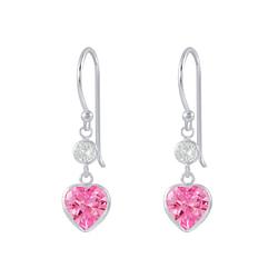 Wholesale Sterling Silver Heart Cubic Zirconia Dangle Earrings - JD2629