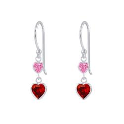 Wholesale Sterling Silver Heart Cubic Zirconia Dangle Earrings - JD2635