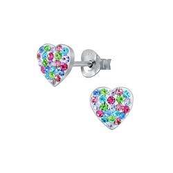 Wholesale Sterling Silver Heart Crystal Ear Studs - JD3071