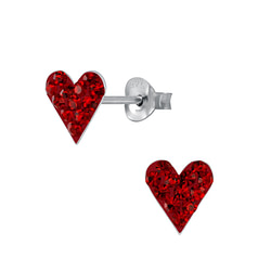 Wholesale Sterling Silver Heart Crystal Ear Studs - JD2993