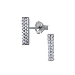 Wholesale Sterling Silver Bar Cubic Zirconia Ear Studs - JD3051