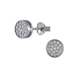 Wholesale Sterling Silver Circle Cubic Zirconia Ear Studs - JD3049