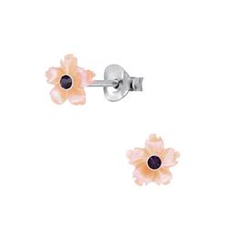 Wholesale Sterling Silver Shell Flower Ear Studs - JD2826
