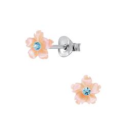 Wholesale Sterling Silver Shell Flower Ear Studs - JD2827