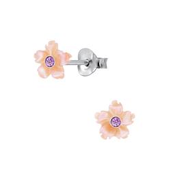 Wholesale Sterling Silver Shell Flower Ear Studs - JD2828