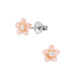 Wholesale Sterling Silver Shell Flower Ear Studs - JD2823