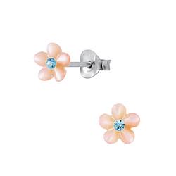 Wholesale Sterling Silver Shell Flower Ear Studs - JD2833