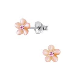 Wholesale Sterling Silver Shell Flower Ear Studs - JD2831
