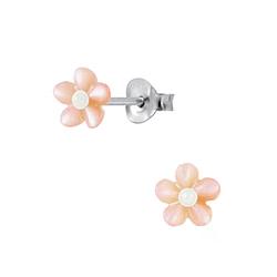Wholesale Sterling Silver Shell Flower Ear Studs - JD2829