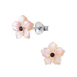 Wholesale Sterling Silver Shell Flower Ear Studs - JD2838